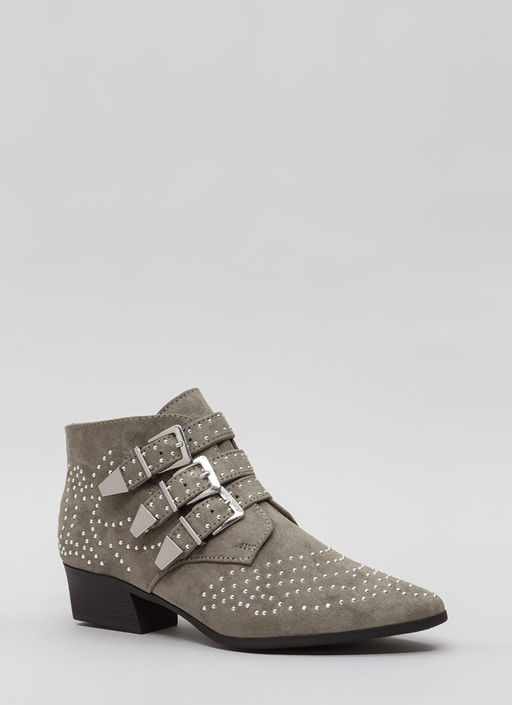 Three For All Studded Buckled Booties KHAKI