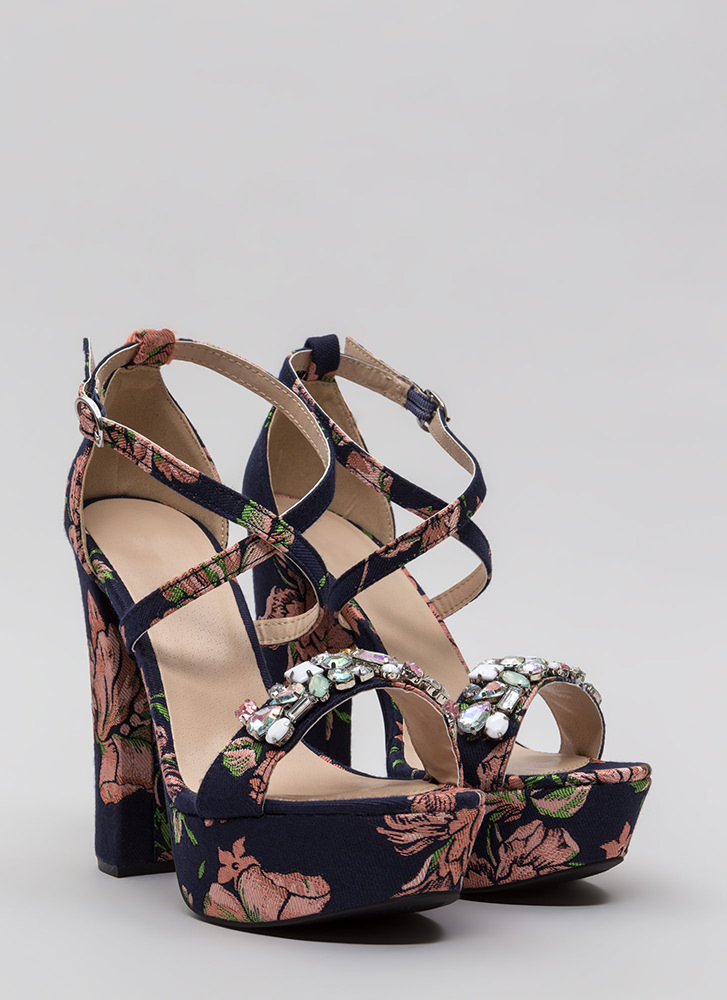 Flowers And Jewels Embroidered Platforms NAVYPINK