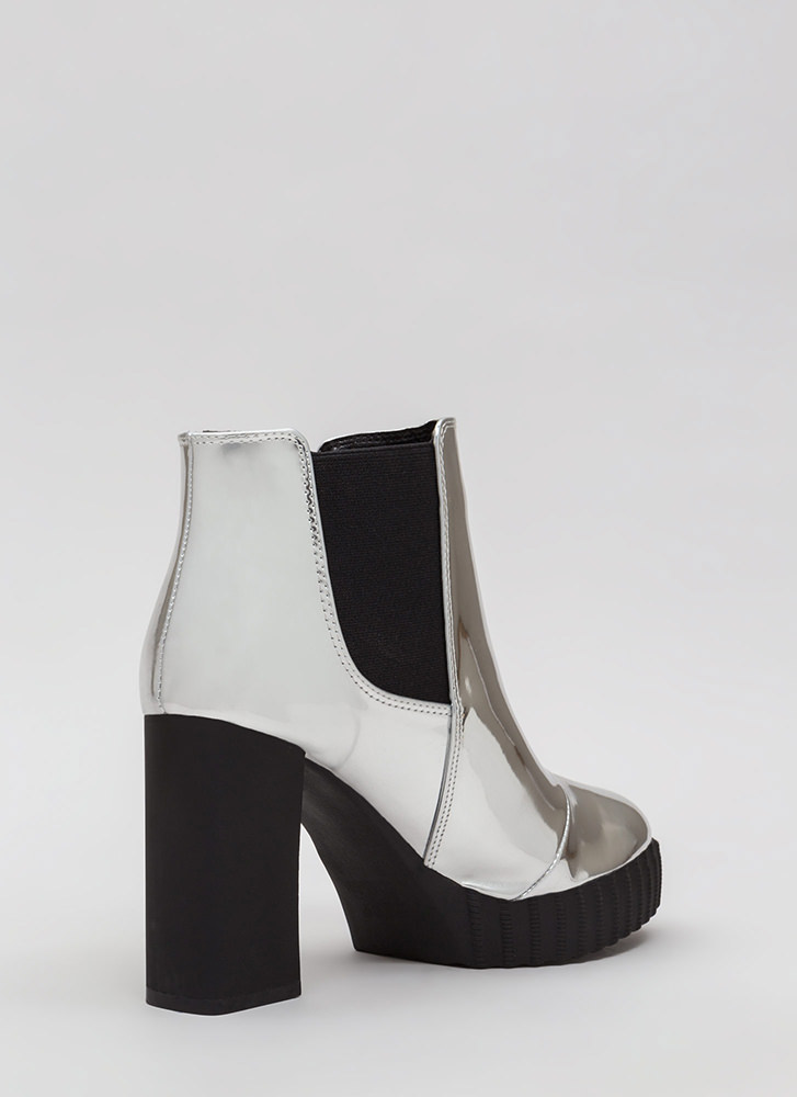 Self-Reflect Chunky Faux Patent Booties SILVER