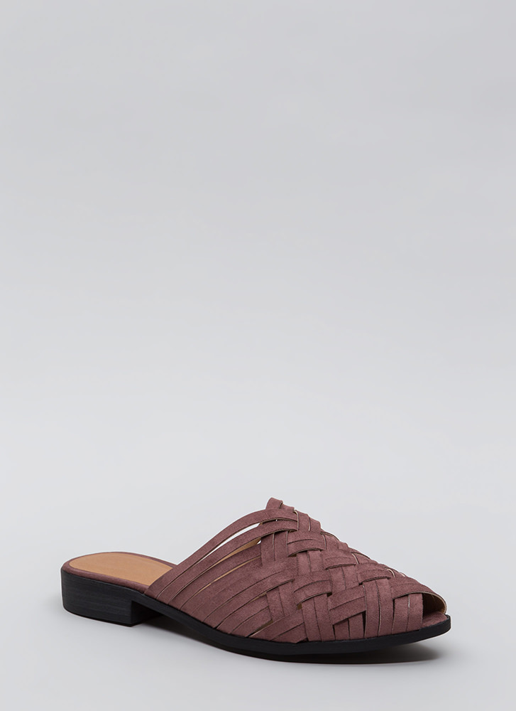Woven Is Me Faux Suede Mule Flats ROSE
