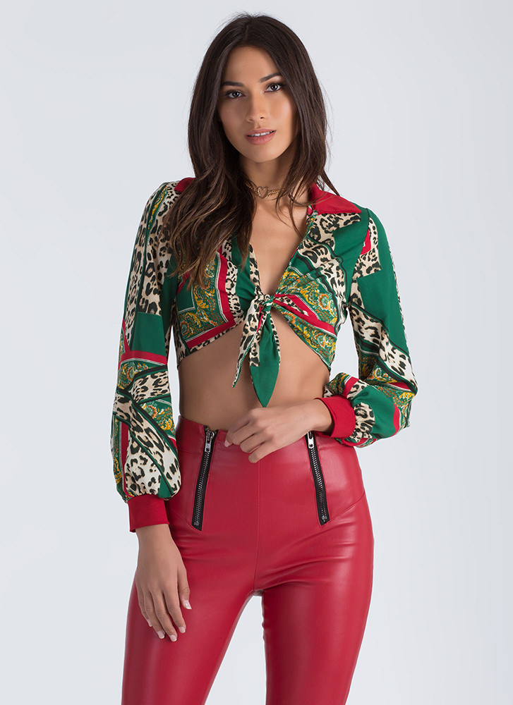 Wild Thing Tied Cropped Blouse GREEN