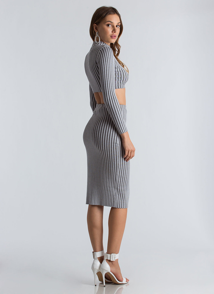 Fine Lines Ribbed Crop Top And Skirt Set GREY