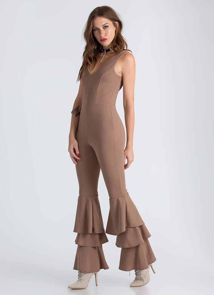 Bring Me To Tiers Ruffled Jumpsuit MOCHA (Final Sale)
