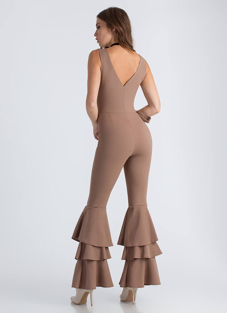 Bring Me To Tiers Ruffled Jumpsuit MOCHA