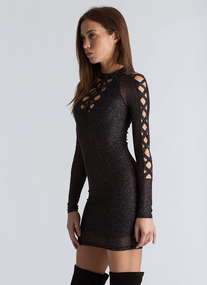 Shoutout To My X Sparkly Caged Minidress BLACK