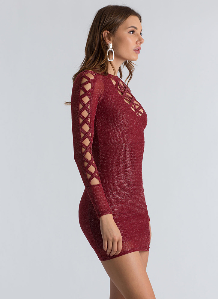 Shoutout To My X Sparkly Caged Minidress BURGUNDY