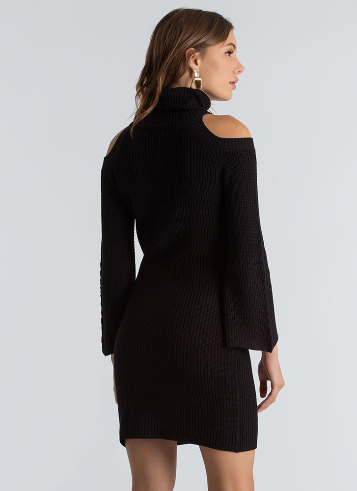 Out In The Cold-Shoulder Sweater Dress BLACK