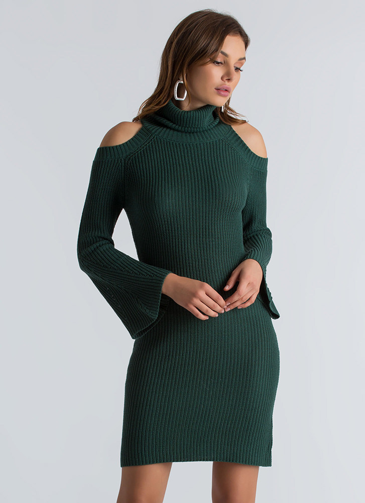 Out In The Cold-Shoulder Sweater Dress HUNTERGREEN