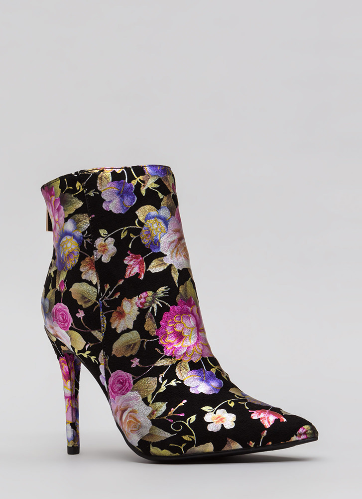 Make Your Point Foiled Floral Booties BLACK