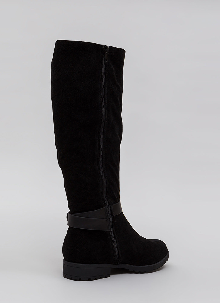 All Strapped In Lug Sole Riding Boots BLACK