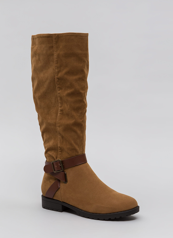 All Strapped In Lug Sole Riding Boots TAN