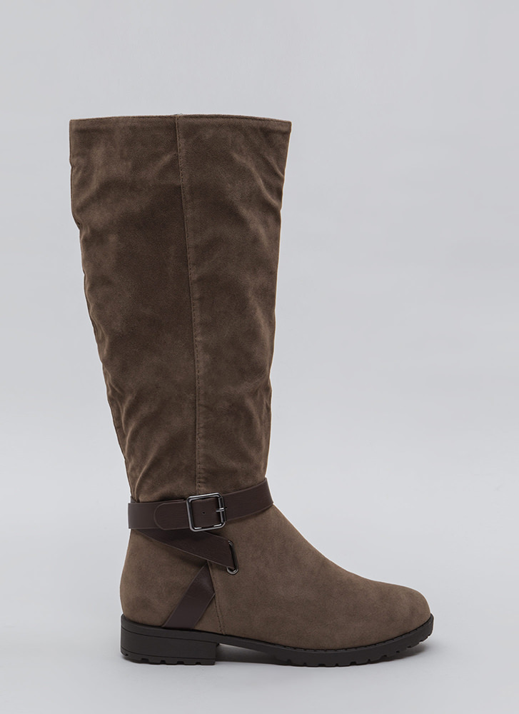 All Strapped In Lug Sole Riding Boots TAUPE