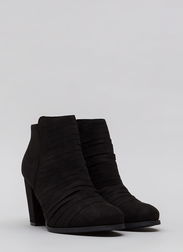 Slit Happens Chunky Banded Booties BLACK