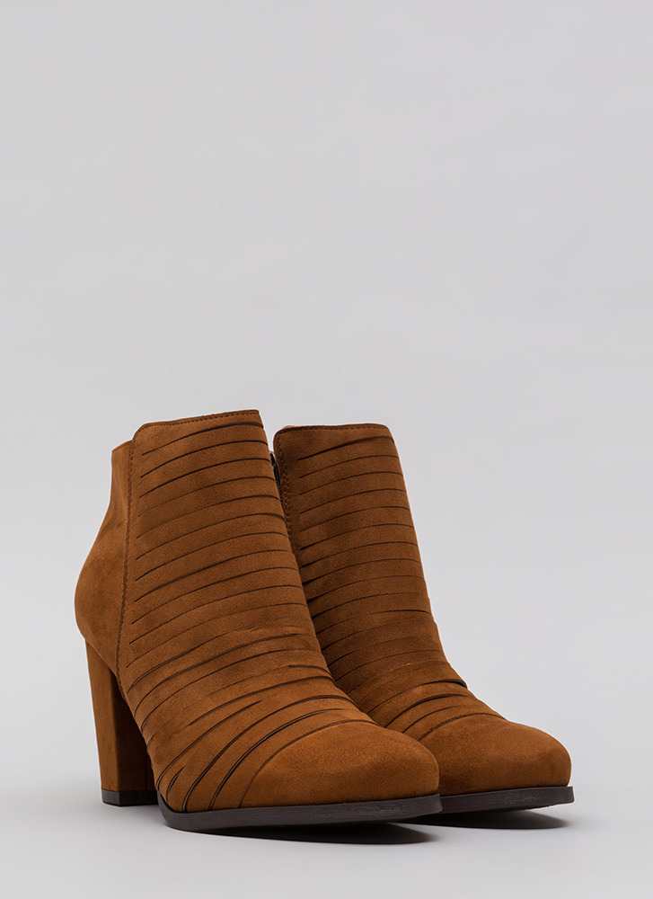 Slit Happens Chunky Banded Booties CHESTNUT