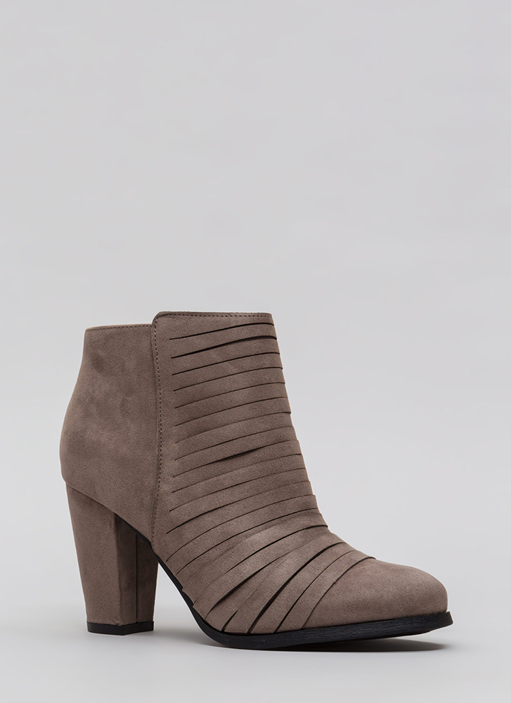 Slit Happens Chunky Banded Booties TAUPE