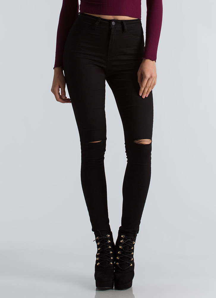 On Your Knees Slit High-Waisted Jeans BLACK