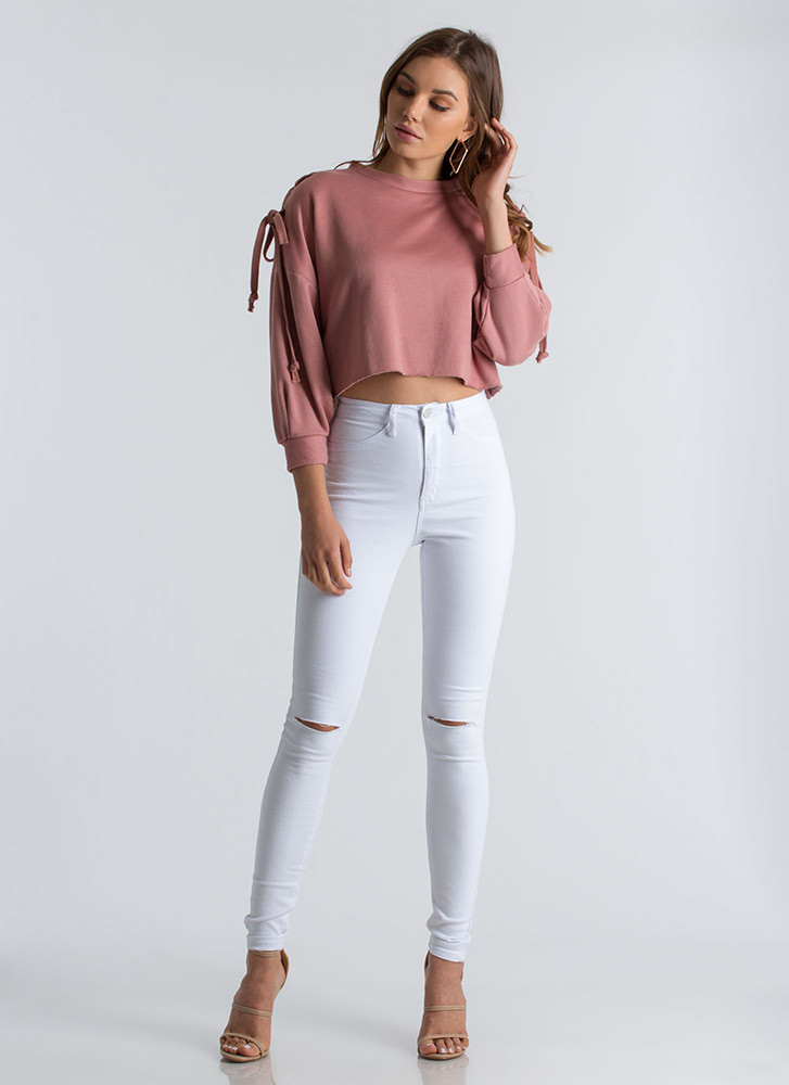 On Your Knees Slit High-Waisted Jeans WHITE