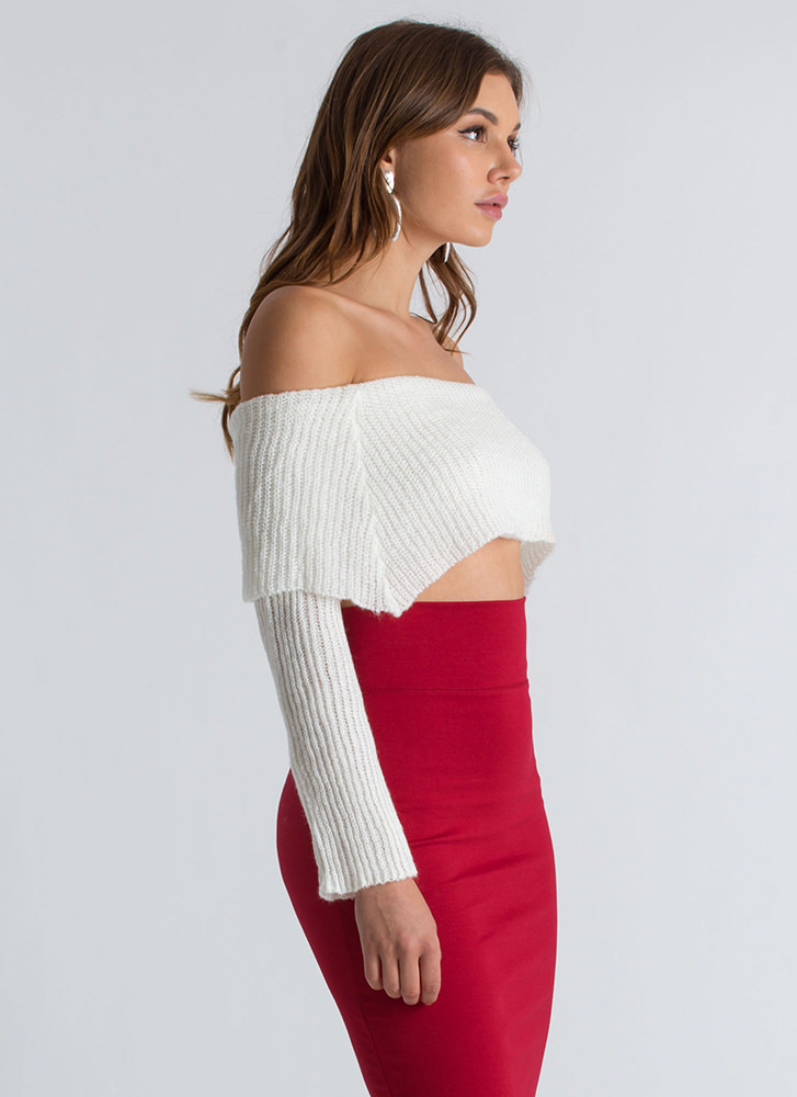 Knit Girl Off-Shoulder Cropped Sweater WHITE
