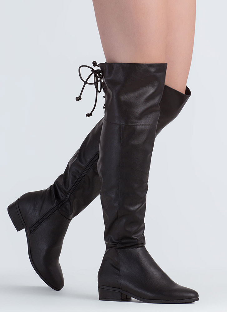 Just In Faux Leather Thigh-High Boots BLACK