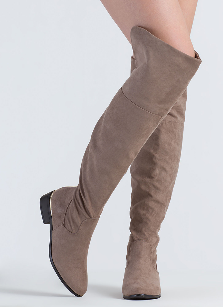 Run It Back Zip-Up Thigh-High Boots TAUPE