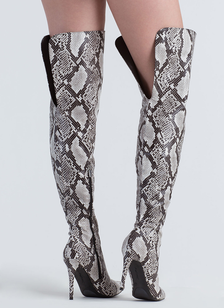 Split Second Faux Snake Thigh-High Boots BLACK