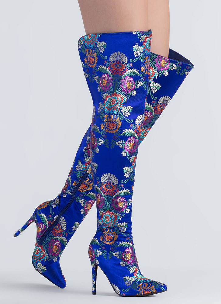 Split Second Floral Thigh-High Boots BLUE