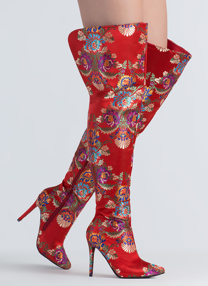 Split Second Floral Thigh-High Boots RED