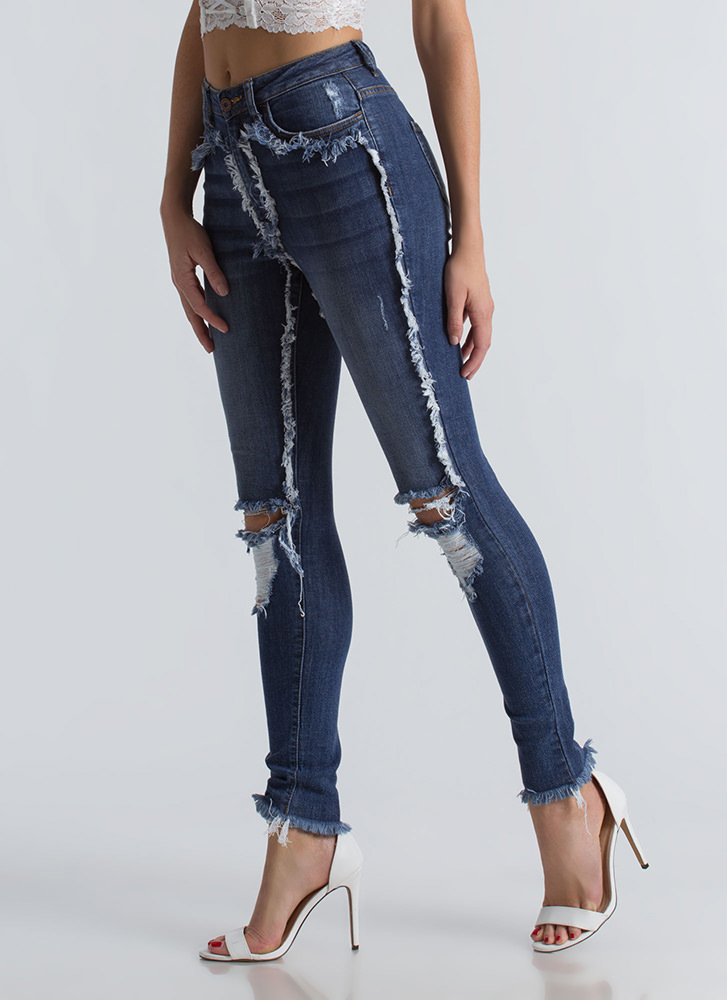 Fringing At The Seams Distressed Jeans BLUE