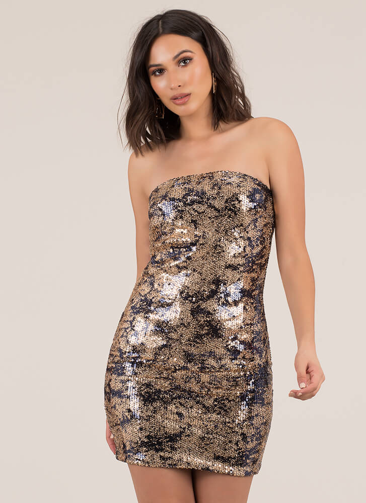 Girl In Glitter Sequined Tube Dress NAVY