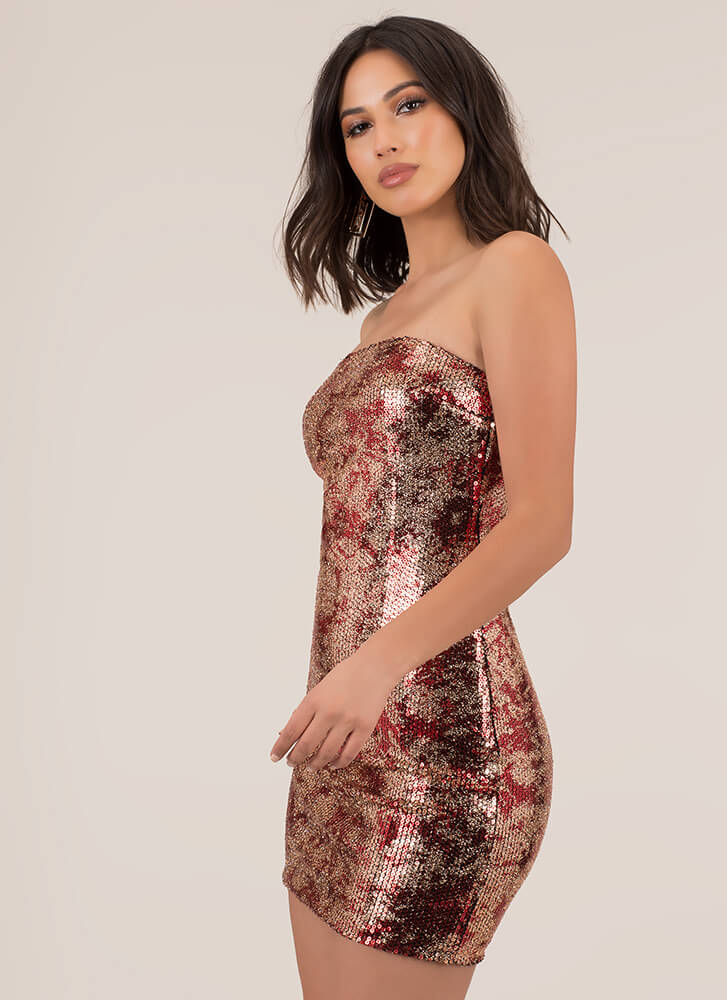 Girl In Glitter Sequined Tube Dress RED