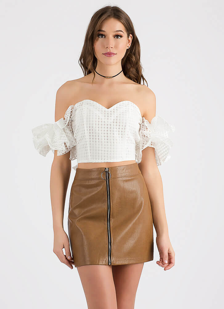 Check It Strapless Ruffled Sleeve Top IVORY