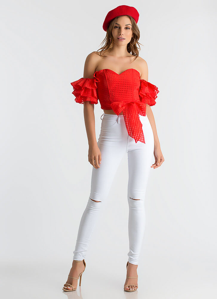 Check It Strapless Ruffled Sleeve Top RED