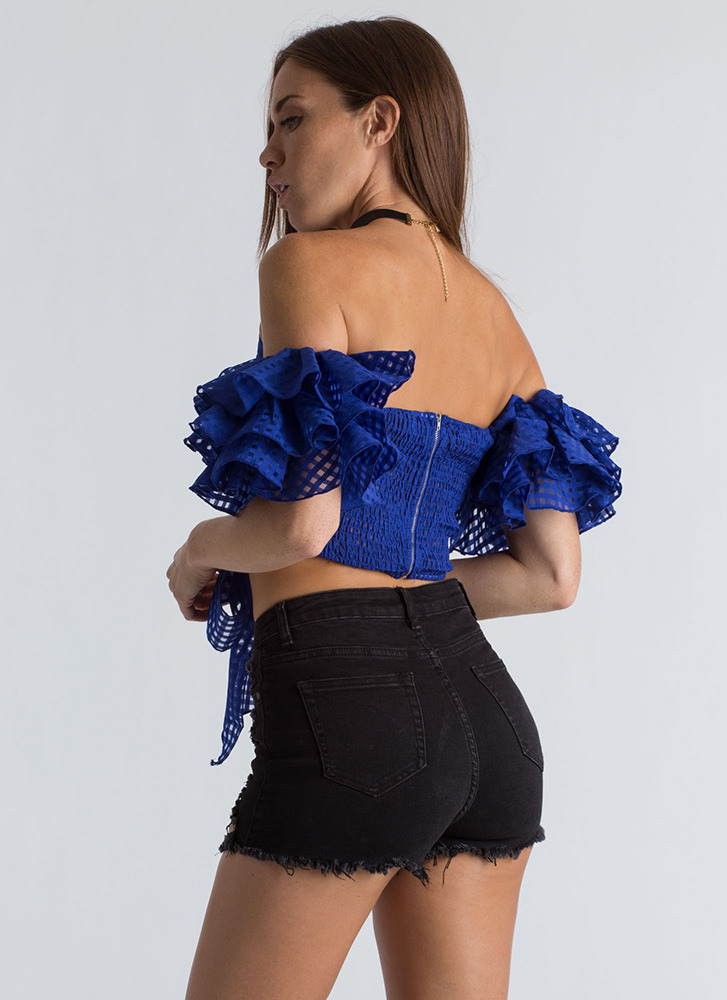 Check It Strapless Ruffled Sleeve Top ROYAL