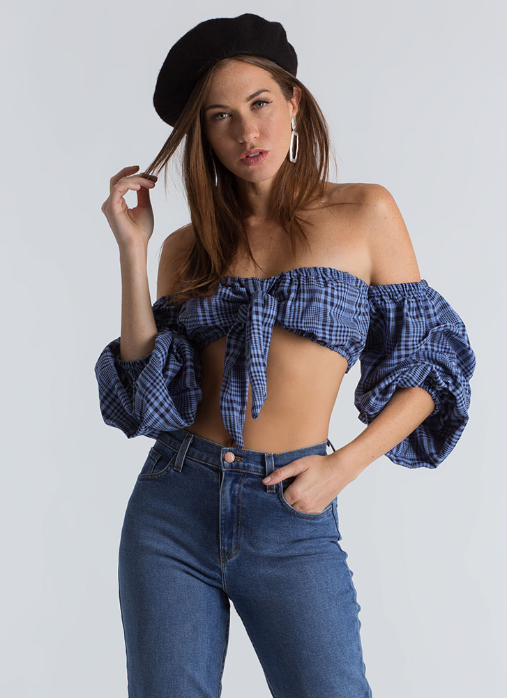 Plaid Influence Puffy Sleeve Crop Top BLUE