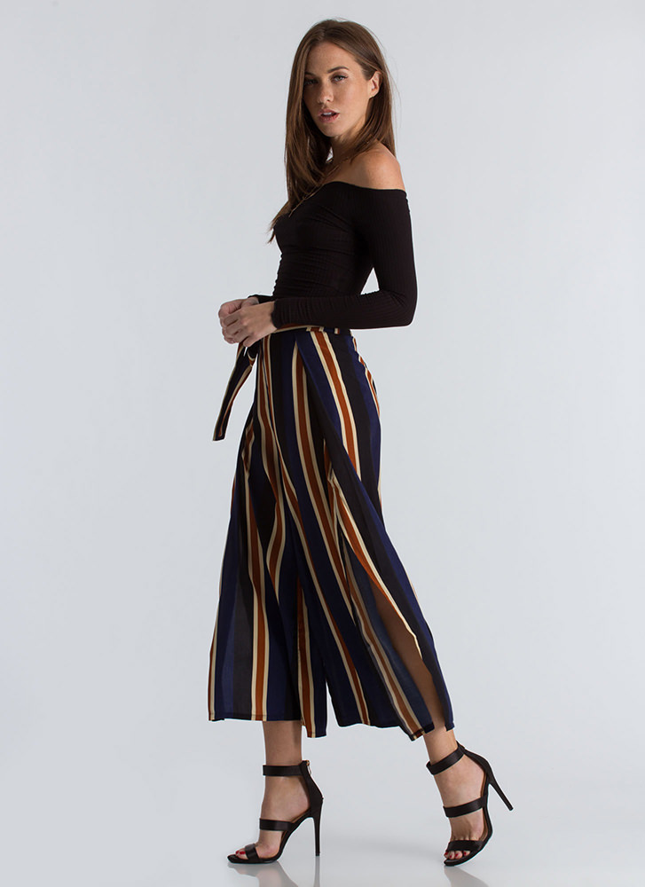 Great Wide Way Striped Palazzo Pants NAVYTAN
