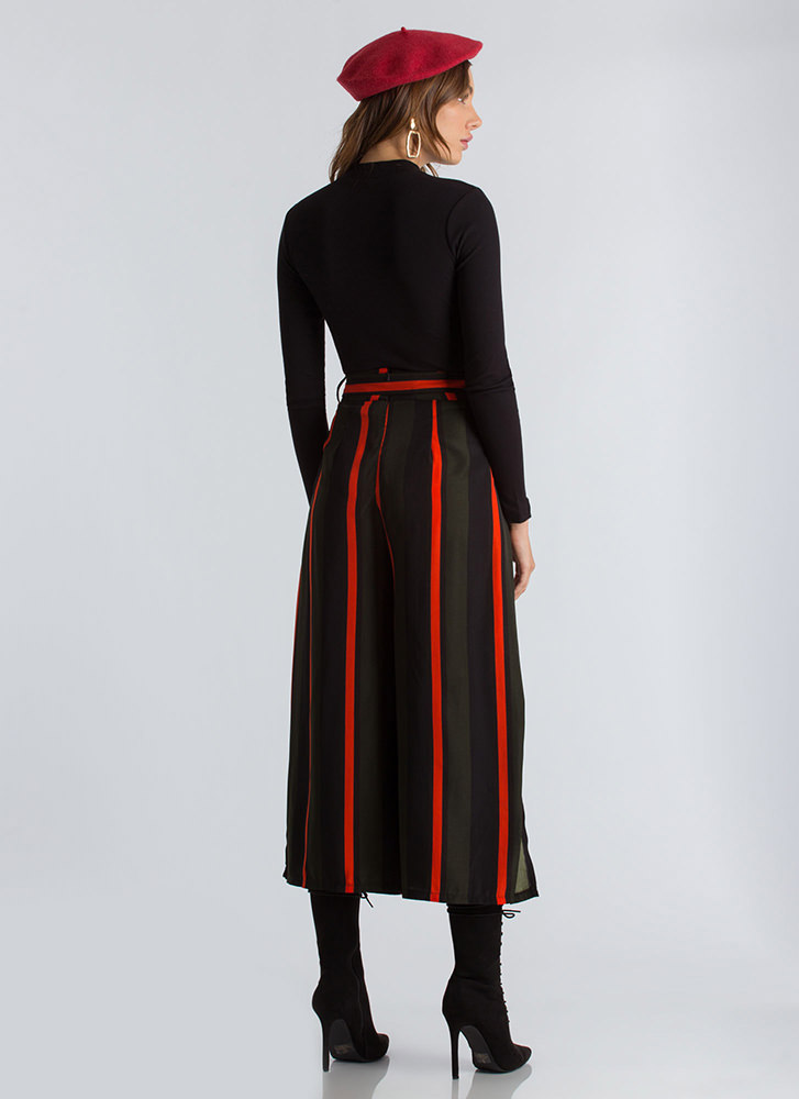 Great Wide Way Striped Palazzo Pants OLIVERED