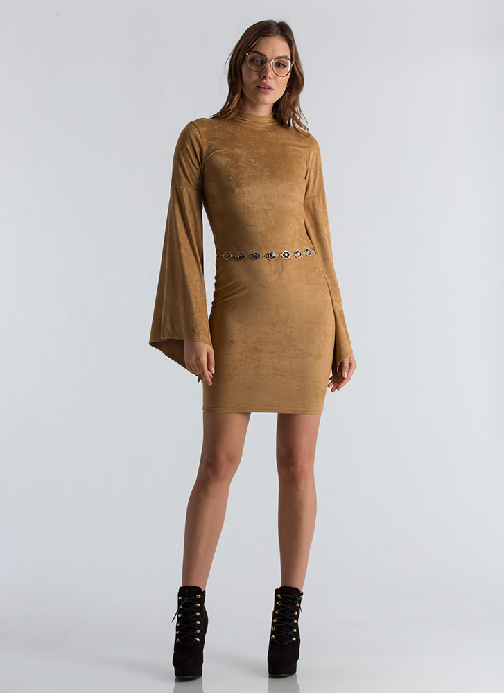 Go To Bat Faux Suede Wing Sleeve Dress CAMEL