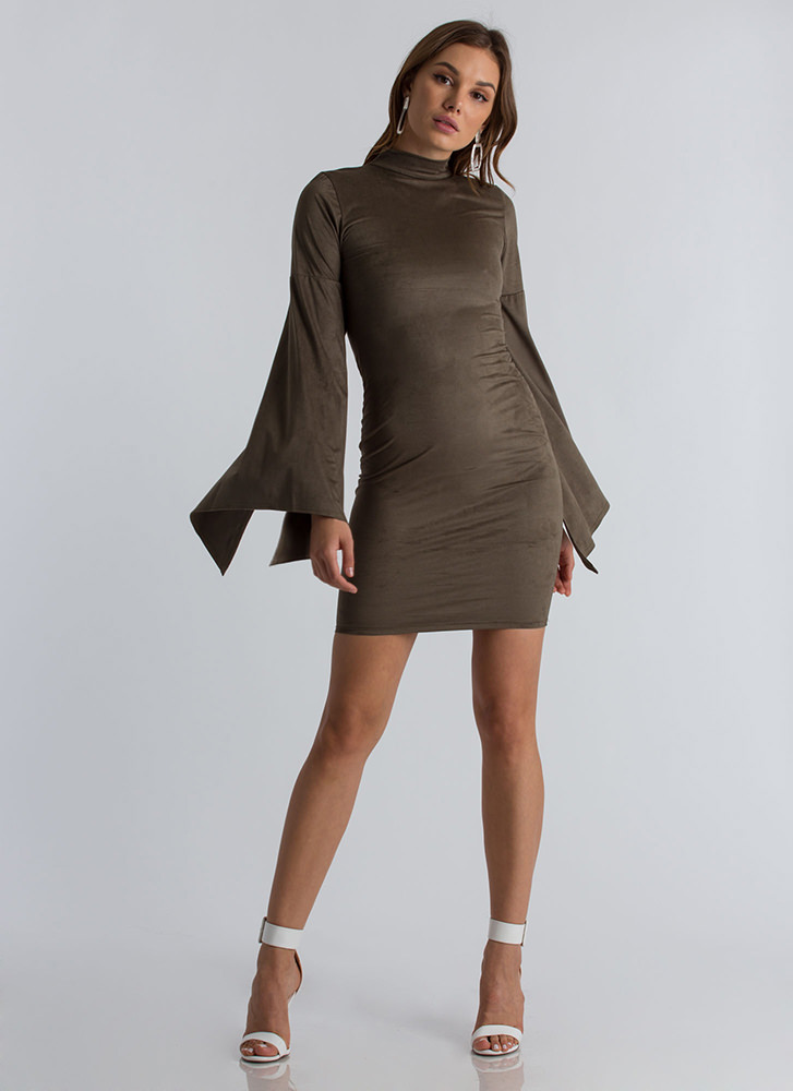 Go To Bat Faux Suede Wing Sleeve Dress OLIVE