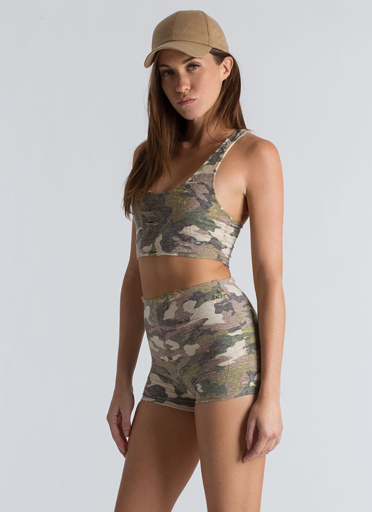 Camp Camo Crop Top And Shorts Set CAMOUFLAGE