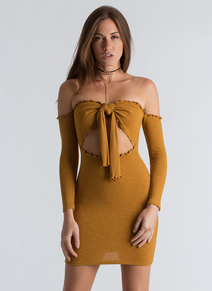 Knot Now Ribbed Off-Shoulder Dress MUSTARD