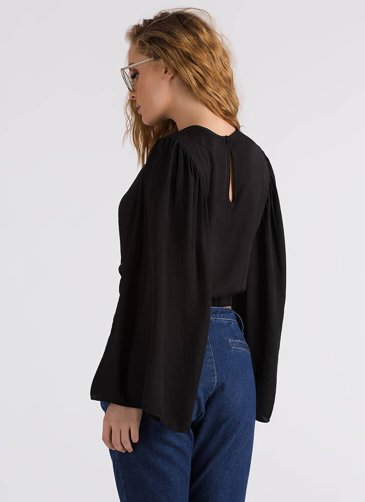 Romeo Romeo Bell Sleeve Crop Top BLACK