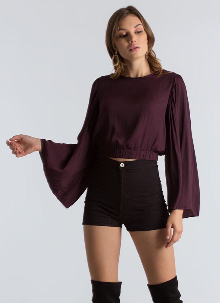 Romeo Romeo Bell Sleeve Crop Top PLUM