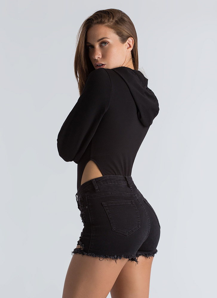 Act Casual Cut-Out Hoodie Bodysuit BLACK