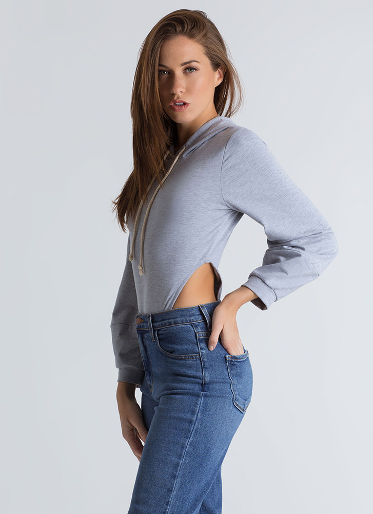 Act Casual Cut-Out Hoodie Bodysuit GREY