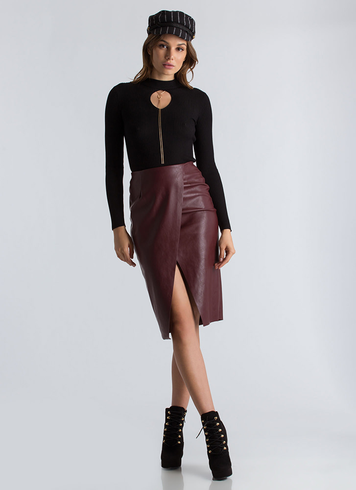 Wrap This Up Faux Leather Pencil Skirt BURGUNDY