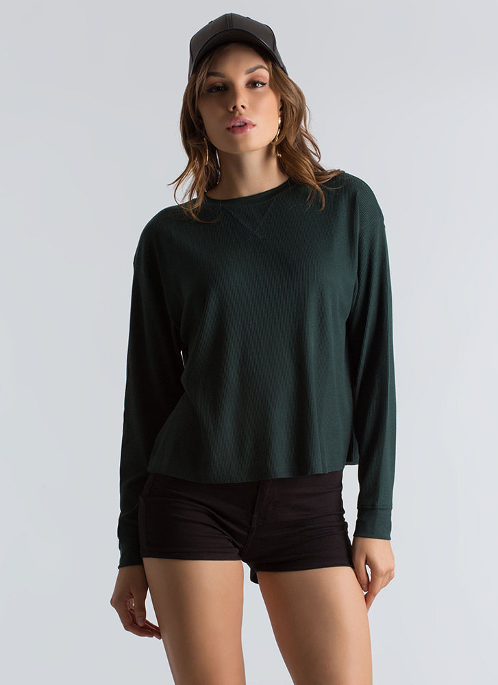 Basics Training Thermal Knit Top FORESTGREEN