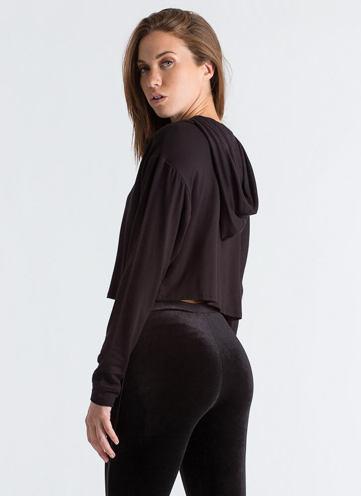 All Good In The Hooded Crop Top BLACK