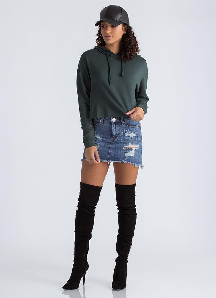 All Good In The Hooded Crop Top FORESTGREEN