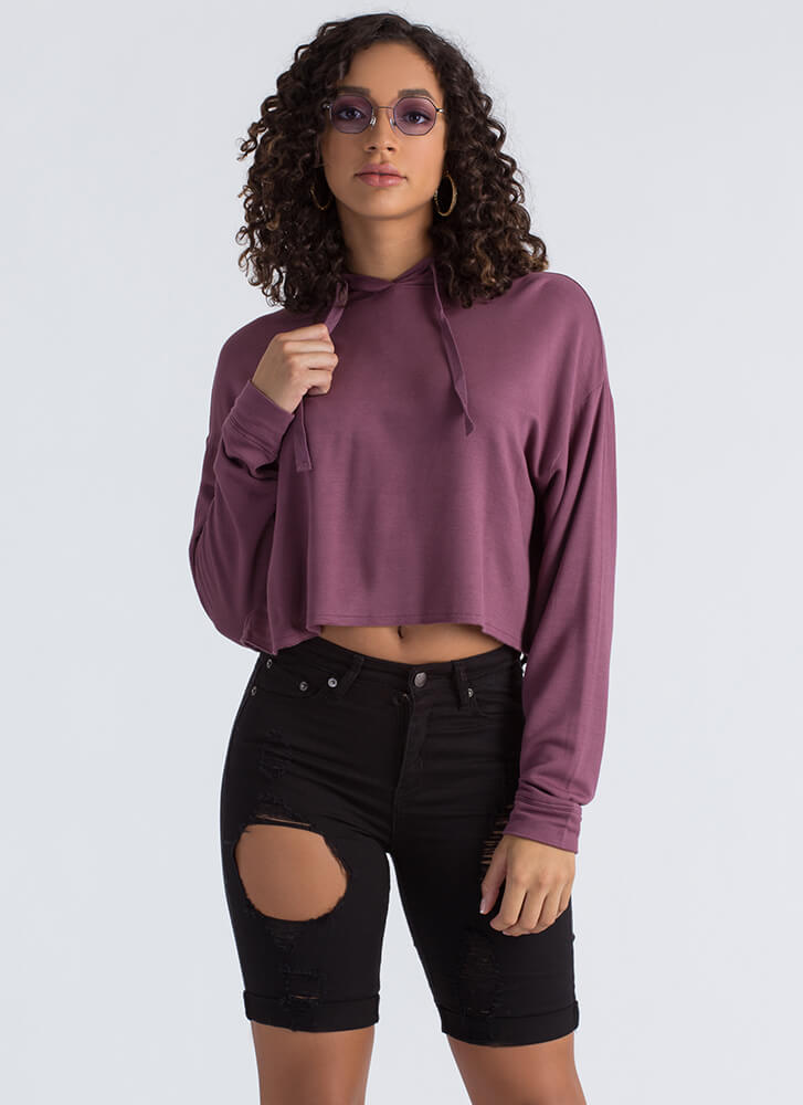 All Good In The Hooded Crop Top SANGRIA