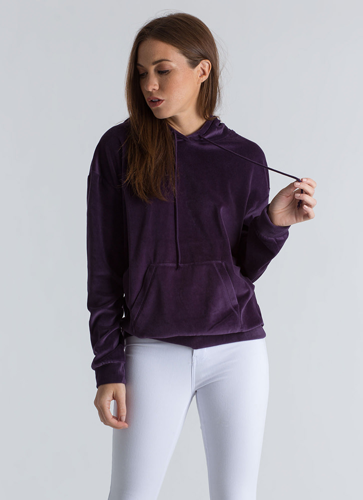 Time For A Break Velvet Hoodie PURPLE